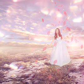 Princess by Ilkgul Caylak - Digital Art People ( flare, woman, color, phenomenon, pure, aurora, beautiful, fairtale, manipulated, lights, fantasy, dreamscape, imagine, nature, edited, cool, dramatic, girl, ilkgulcaylak, nice, awesome, dream, vintage, fantastic, spiritual, fresh, landscape )