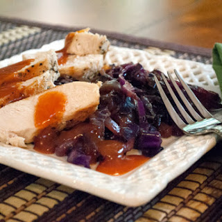 Sweet and Sour Chicken Breasts with Red Cabbage.
