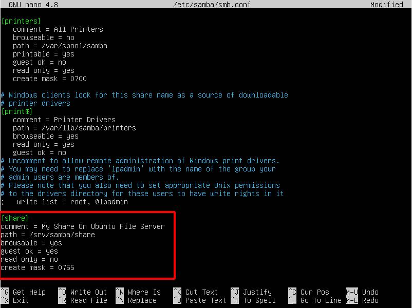 Virtual Hacking Lab - Samba configuration. Source: nudesystems.com