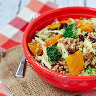 Farro Salad with Chicken, Beets and Broccoli