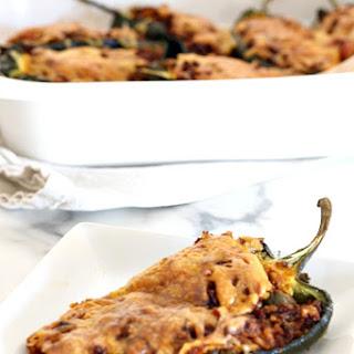 Chorizo + Rice Stuffed Poblano Peppers.