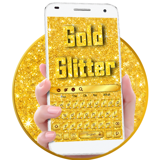 Gold Glitter Shiny Keyboard Theme