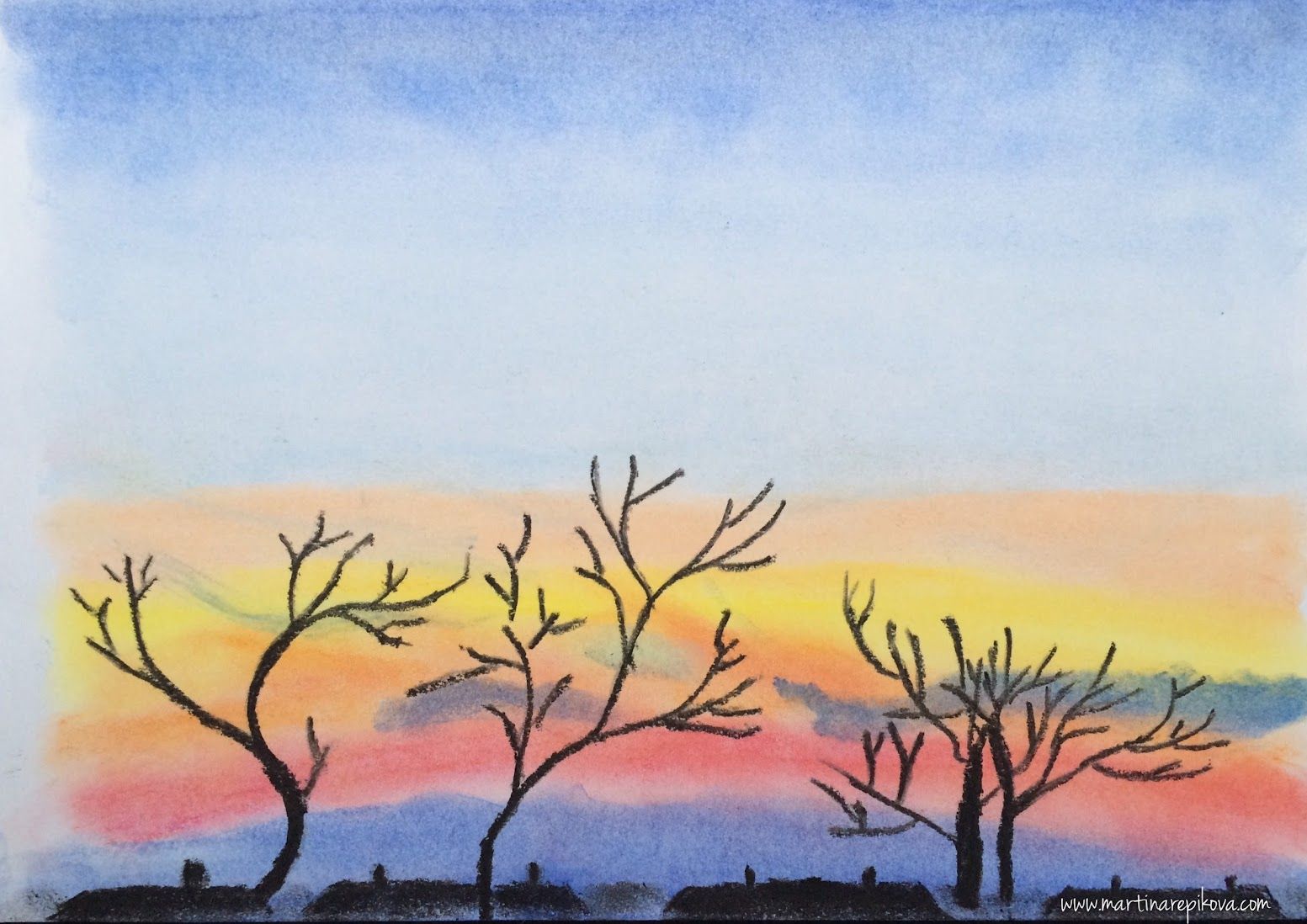 Sunset in Brno, Czech republic (a pastel drawing)