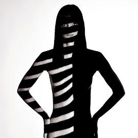 Zebra by Zbyněk Brada - Nudes & Boudoir Artistic Nude ( body, nude, girl, black and white, hidden, zebra, stripes, light )