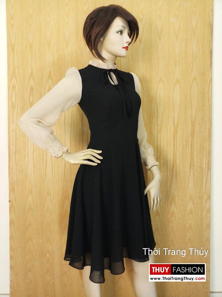 Váy xòe liền qua gối dài tay vải voan V652 thời trang thủy hải phòng