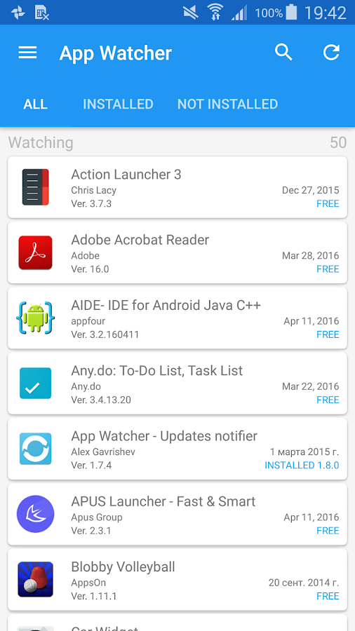 App Watcher - Updates notifier- screenshot
