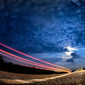 Into the night by Ionut Stoica - Landscapes Starscapes ( lights, moon, sky, traces, taillights, night, road )