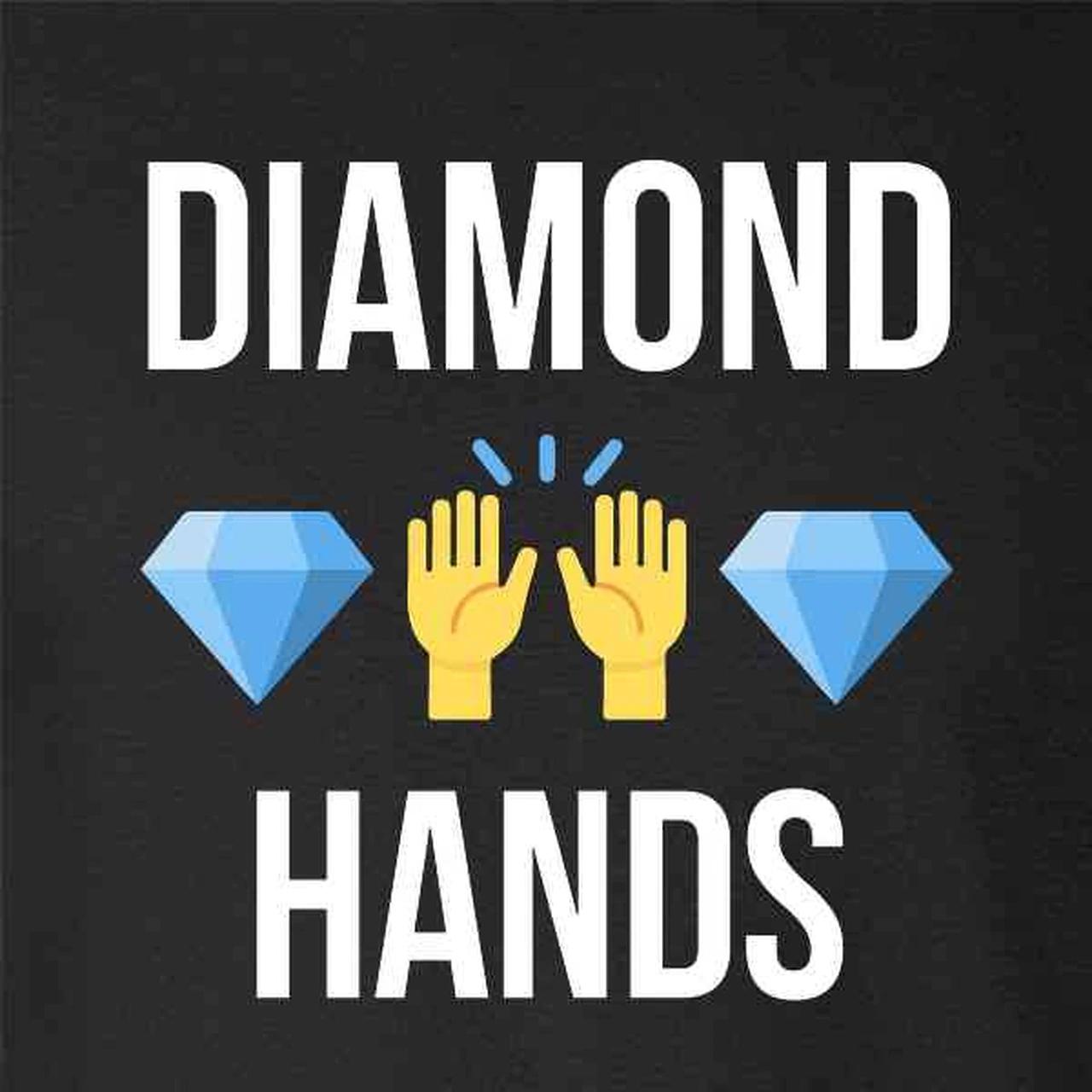 Imagem com o texto diamond hands, com um emoji de mãos saudando entre dois emojis de diamante.