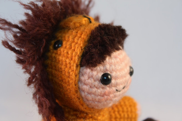 Amigurumi boy in lion costume
