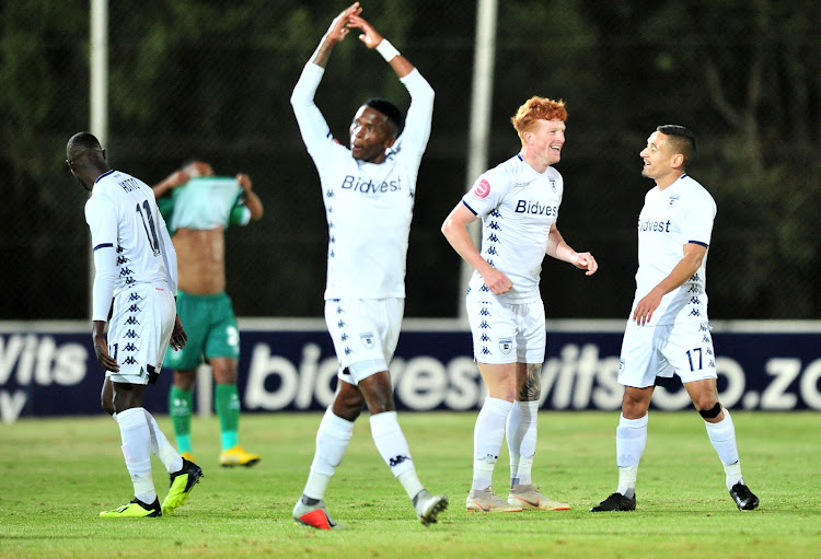Simon Murray of Bidvest Wits celebrates goal with teammates during the Absa Premiership 2018/19 match between Bidvest Wits and AmaZulu at Bidvest Stadium, Johannesburg on 29 August 2018.