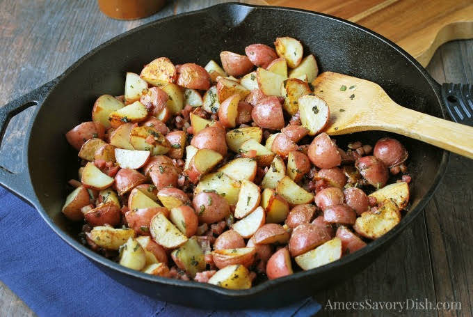 Garlic Roasted Potatoes with Sage and Proscuitto