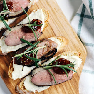 Duck Confit Crostini with Parsnip Puree and Fig.