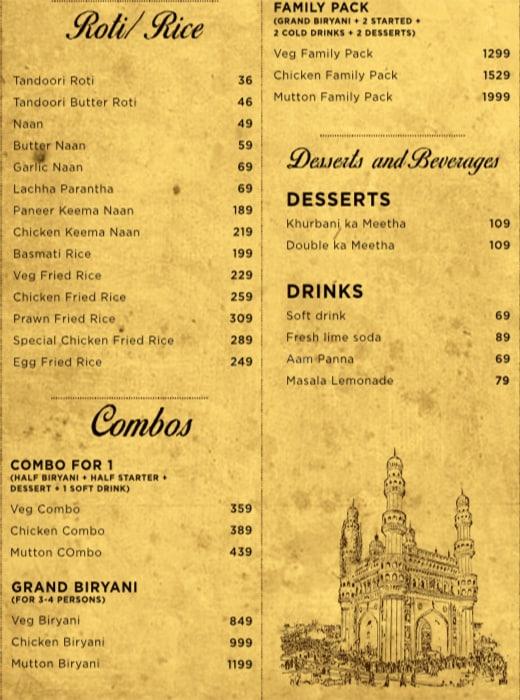 Biryani Badshah menu 2