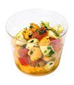 Salada de grão de bico caprese com cubinhos de tomate, muzarellinha de búfala e salsinha ao molho vinagrete p/ 10 pessoas