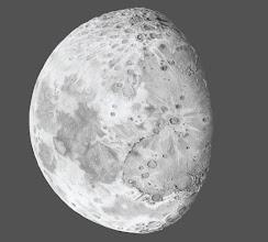 Photo: Lune à PQ+ 3 jours, le 15 février 2019 au soir. 5h de dessin derrière une Taka FS78 à 52X. Version sur fond noir et orientée comme dans un télescope newton.