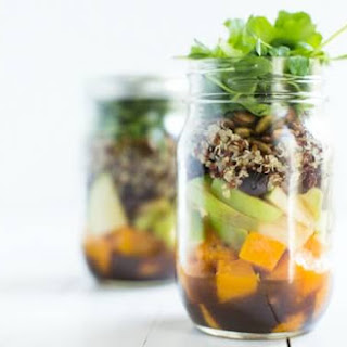 Fall Mason Jar Salad with Maple Balsamic Dressing