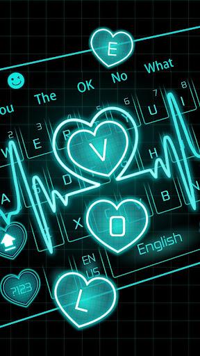 Neon Blue Love Heart Keyboard screenshots 2
