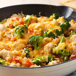 One-Pot Cheesy Chicken, Rice and Broccoli.