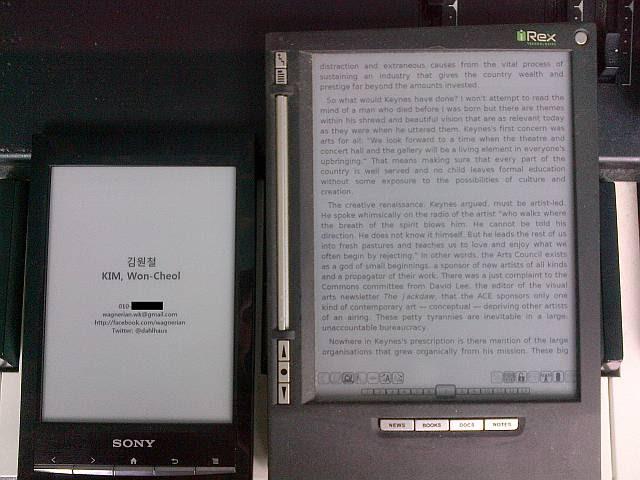 Sony PRS-T1 vs. iRex iLiad