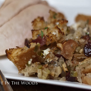 Tuscan Bread Stuffing with Prosciutto, Goat Cheese, and Dried Cherries