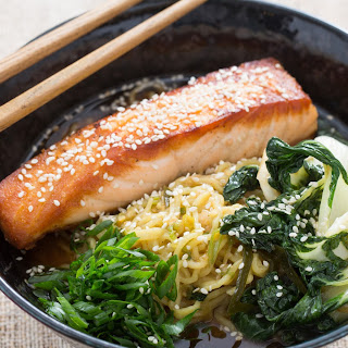 Pan-Roasted Salmon with Spicy Miso Broth and Wakame