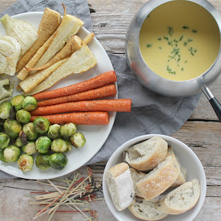 Cheddar and Emmental Fondue with Roasted Vegetables Recipe