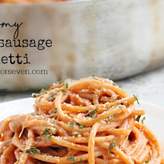 Creamy Italian Sausage Spaghetti.