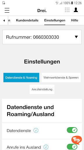 Drei Kundenzone screenshot