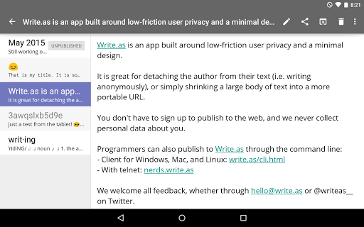 Write.as - blog and journal  screenshots 6