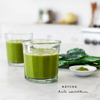 Matcha Kale & Peach Smoothies.