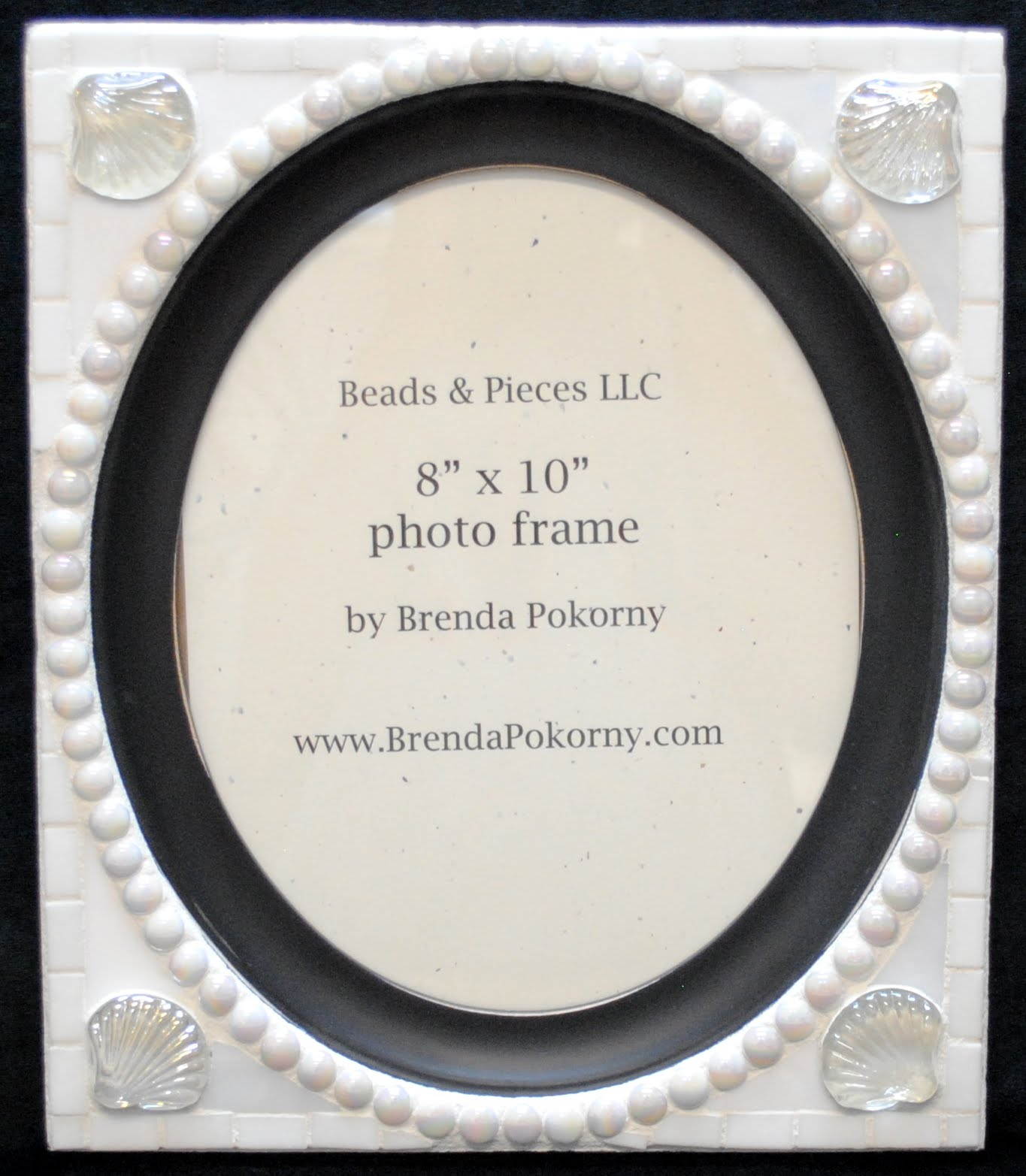 "White on White Oval 8"" x 10"" Mosaic Photo Frame MOF1457"