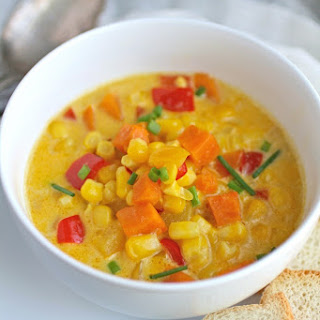 Corn and Sweet Potato Chowder with Saffron Cream