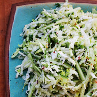 Iceberg Slaw with Cucumbers and Green Onions.