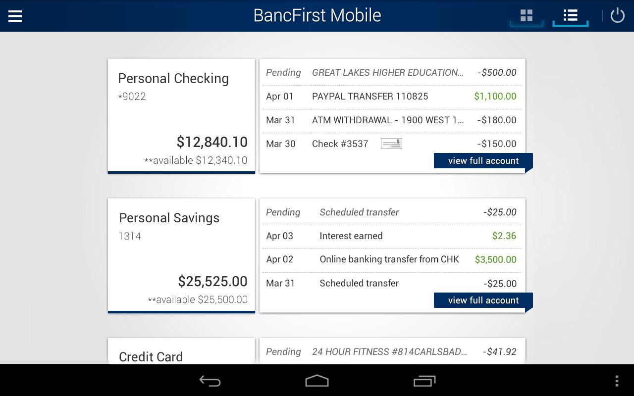 BancFirst Mobile Banking- screenshot