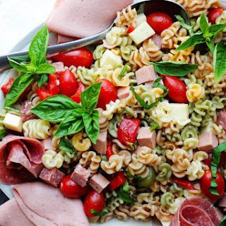 Antipasto Pasta Salad with Salami and Bologna.