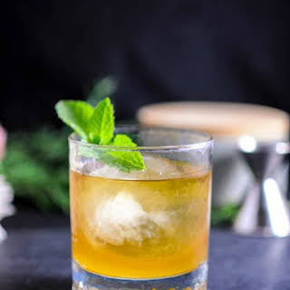 Apricot and Honey Bourbon Sour Cocktail.
