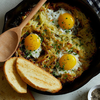 Simple Cheesy Skillet Hash Browns and Eggs.