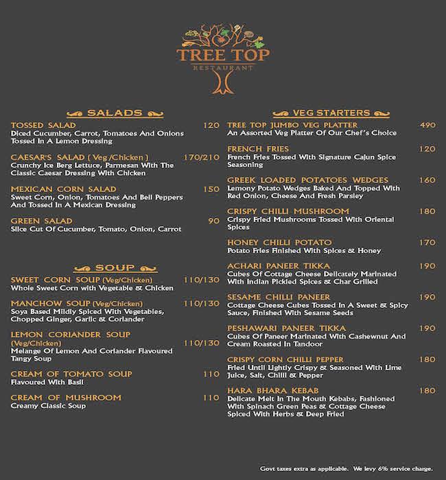 Tree Top menu 1
