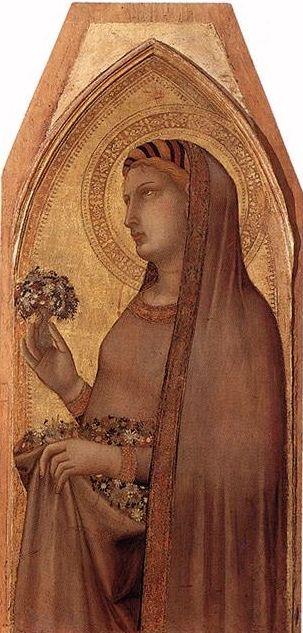 Ambrogio Lorenzetti - Santa Dorotea, dettaglio Madonna con il Bambino con Maria Maddalena e Santa Dorotea - c. 1325 - tempera su legno - Pinacoteca Nazionale, Siena: