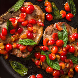 Seared Pork Chops with Tart Cherries and Mint