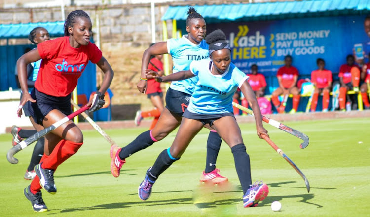 Titans Lynn Mwangi fights for the ball with Amira Sailors' Vivian Joanne in a past Premier League match.