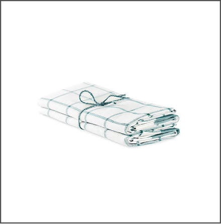 Handduk Köksruta benvit-isblå
