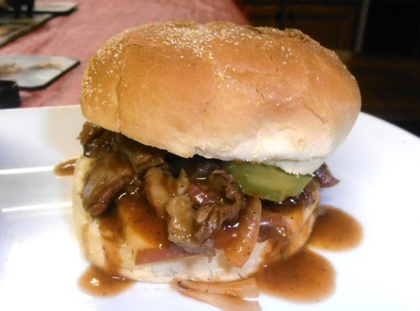 add bbq beef, pickle chips and the top half of rolls.  ENJOY!