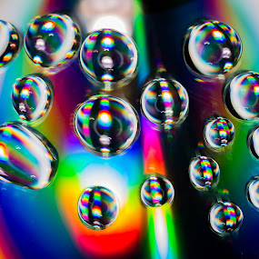 by Eden Meyer - Abstract Water Drops & Splashes ( water, colors, drops, rainbow )