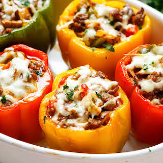 Cheese Steak Keto Low-Carb Stuffed Peppers.