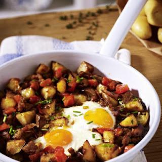 Potato Hash with Bacon, Sausage and Egg.