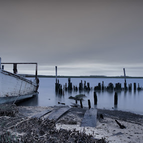 Abandoned Boat  by Brian Lord - Transportation Boats ( sun rise, beach, bay, water, boat )