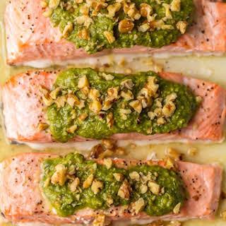 Baked Salmon with Basil Walnut Pesto (Pesto Salmon).