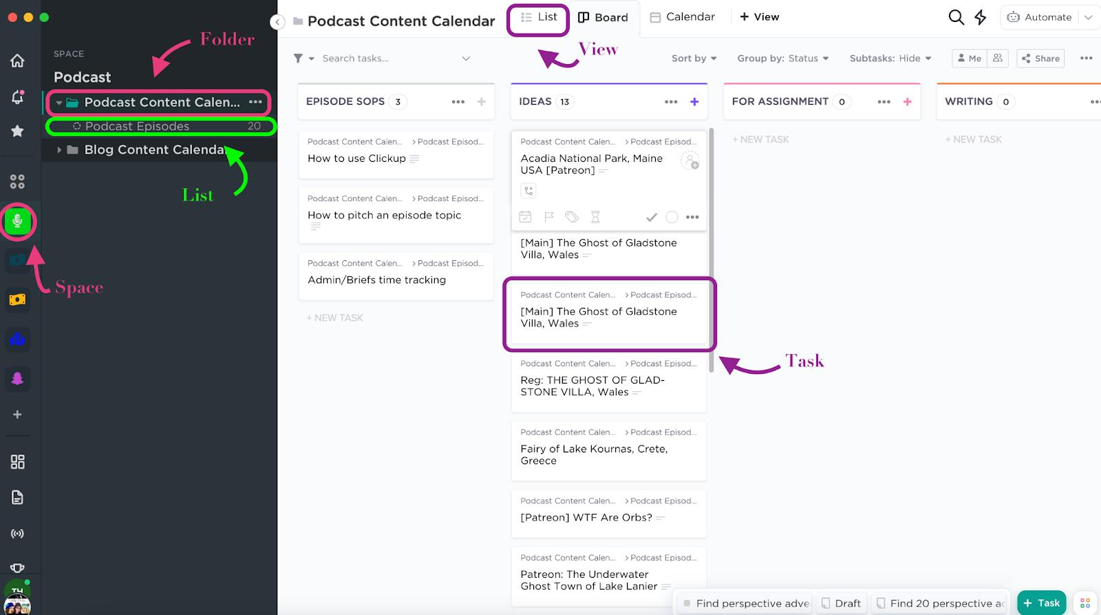 Screenshot of a ClickUp board view