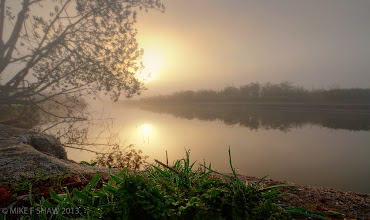 Photo: Good Morning And Welcome To My World  This is my world, the little seen droplets of dew hanging like crystal from stems of grass. The morning mist drifting across the water, reflections of the sun and its warming glow awakening the day.  This is my world, come share it with me.